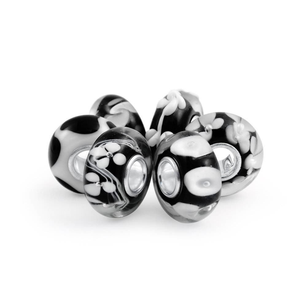 Set of Six Bundle Black and white Simulated Onyx Murano glass Lampwork Bead Charm .925 Sterling Silver