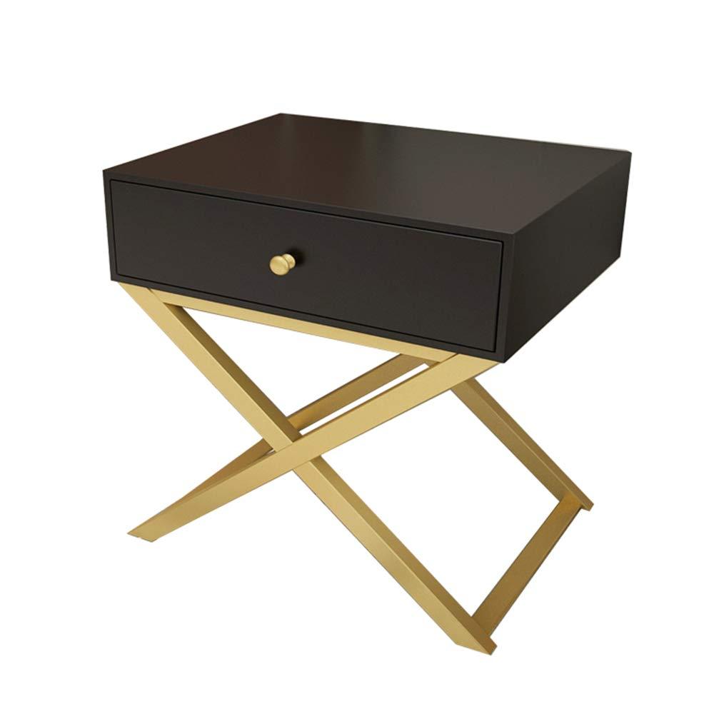 XRXY サイドテーブル、ベッドサイドテーブル、収納キャビネット、1段引き出し付き木製テーブルトップ鉄製ブラケットベッドサイドキャビネット、エンドテーブル、15.7 x 16.3 x 23.2インチブラック、ホワイト (色 : Black-40×41.5×59 cm) B07MBSHC3W Black-40×41.5×59 cm