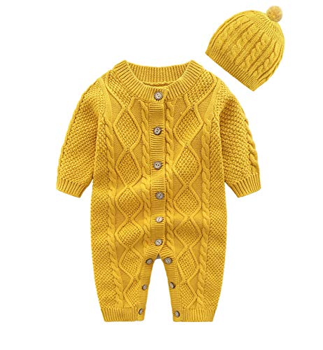 JooNeng Baby Newborn Cotton Knitted Sweater Romper Longsleeve Outfit with Warm Hat Set,Yellow,3-6 Months