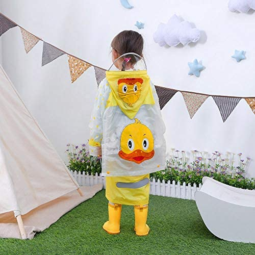 ❤️ Sunbona Schoolbag Baby Boys Girls Children Cartoon Reflective Tape Raincoat+Bag Student ClothesShoulder School Bag