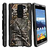 MINITURTLE Case Compatible w/ [LG K8V Case (Verizon) VS550][Clip Armor] Hard Rugged Shell, Silicone Bumper w/ Stand and Holster Hunters Camouflage