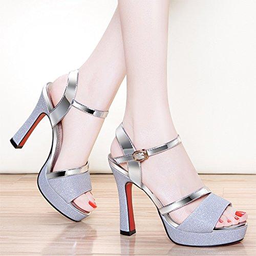 Vous Promo Femmes Soir Peep Talons Toe Sandales Silver Hauts des Sunny Rendez Bal Fête Paillettes De axvq7dnRwU