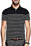 Men's Summer Wear Classic Fit Casual Striped 2 Button Placket Short Sleeve Polo T-Shirt (L, Black)