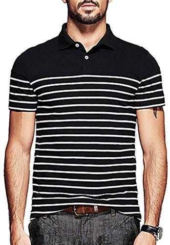 Yong Horse Mens Summer Casual Striped 2 Button Placket Short Sleeve Golf Polo Shirt (S, Black)