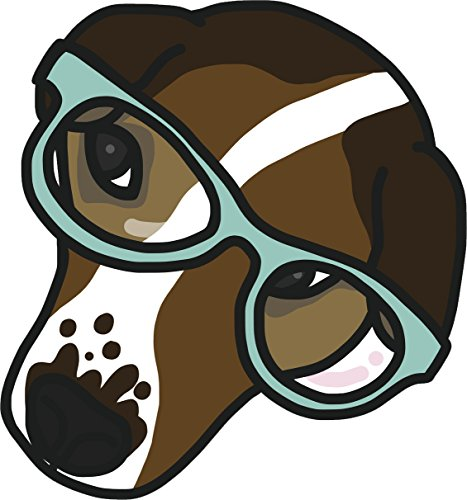 Cute Simple Beagle Puppy Dog in Sun Glasses Cartoon Art Vinyl Sticker (2