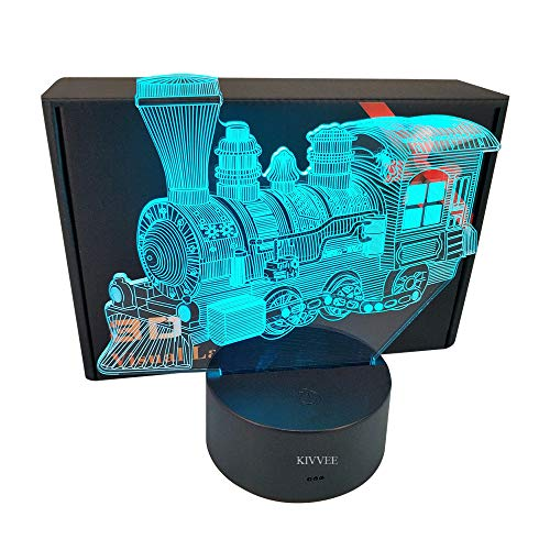 - Train Transportation Toys Visual 3D Lamp 2D Night Light Touch W/USB Cable Birthday Christmas Gift for Boys Kids Adult Acrylic Table Accessories Decorative Colorful 7 Color Change for Kids Bedroom