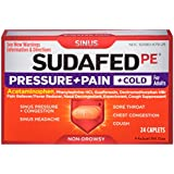 Sudafed PE Pressure + Pain + Cold Caplets, Sinus Congestion and Cold Symptoms Relief, 24 Count