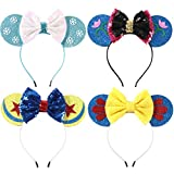 Minnie Mouse Ears Bow Headbands Glitter Party Decoration Frozen Inspired Princess Elsa Anna Snow White Mickey Ears Headband for Kids