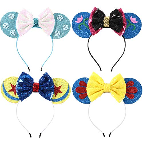 Minnie Mouse Ears Bow Headbands Glitter Party Decoration Frozen Inspired Princess Elsa Anna Snow White Mickey Ears Headband for Kids -