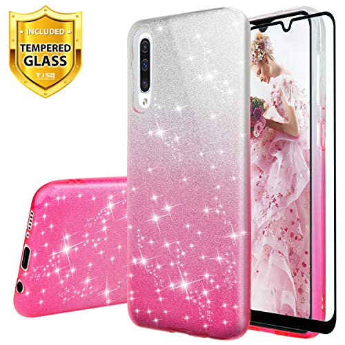 TJS Case Compatible for Samsung Galaxy A50, with [Full Coverage Tempered Glass Screen Protector] Two Tone Shinny Glitter Hybrid TPU Protection Phone Cover Case for Girls Women (Pink)