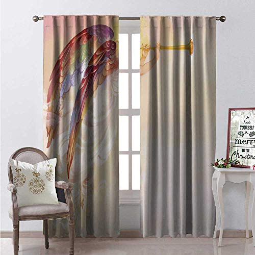 Angel Waterproof Window Curtain Beautiful Ancient Woman Wings and Trumpet in Pastel Colors Middle Ages Artistic Decorative Curtains for Living Room W72 x L84 Multicolor
