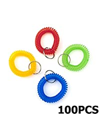 Aspire Wrist Coil Wrist Band Key Ring / Bracelet Keychains, 100 PCS Mixed Colors