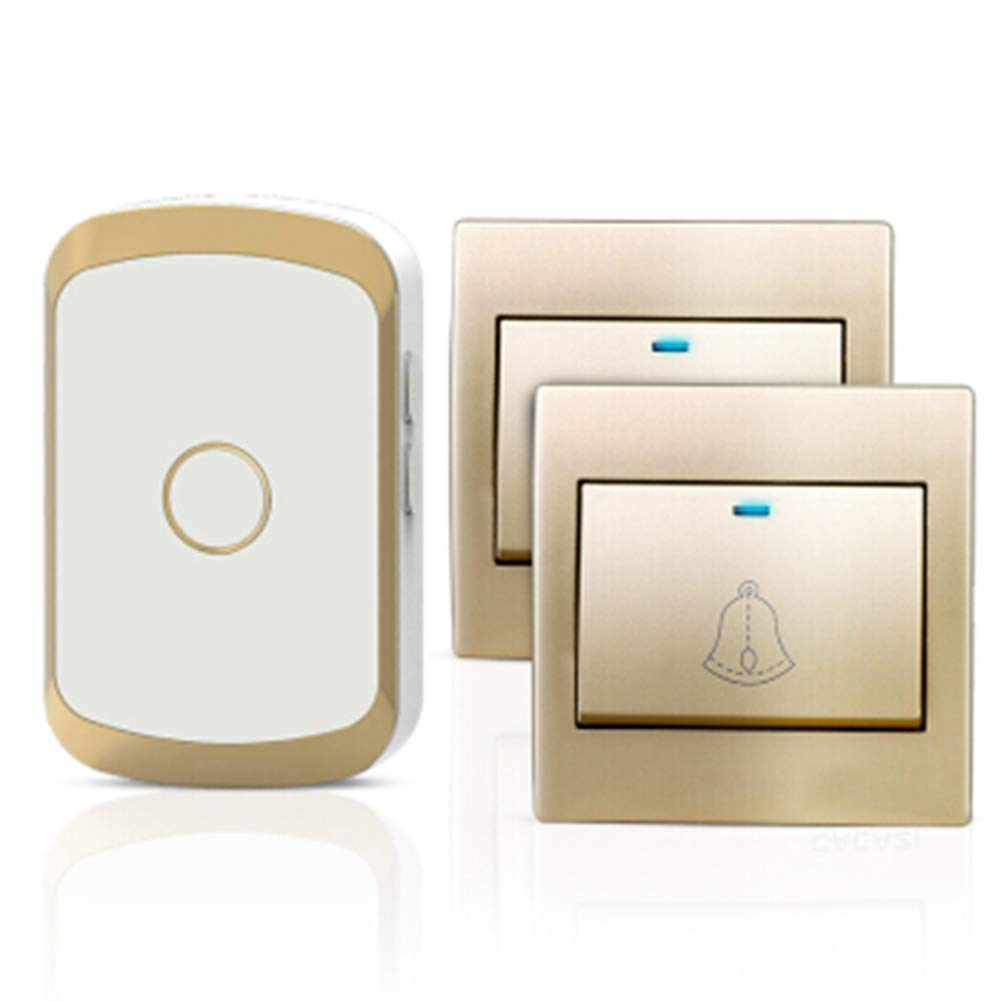 gold C gold C Wireless Door Bell, Cordless Doorbell, Household Waterproof, Plug-in Receiver + Transmitter (Requires Battery), ABS Material,gold,C