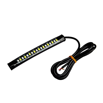 Quaant Car LED Strip Light,Universal Flexible 18 LED Motorcycle ATV Tail Brake Stop Turn Signal Strip Light Fashion Convenience Black