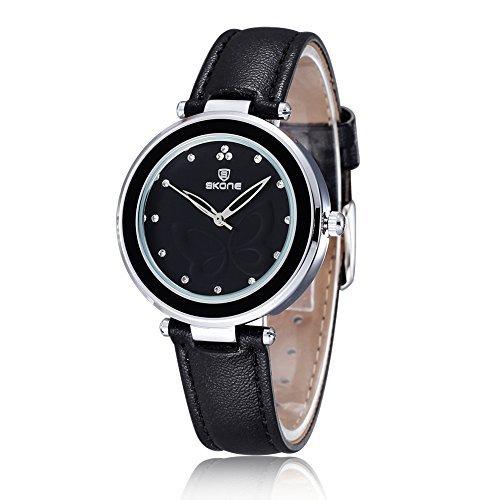AStarsport Womens Girls Butterfly Rhinestone Scale Watches Analog Quartz Leather Watch Male Casual Wristwatch Black by AStarsport