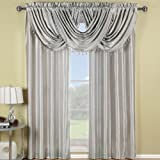 Elegance Solid Rod Pocket Window Treatment- Panels, Valances and Scarves. Available in various colors and sizes to enhance your home décor. 70X17 IN Each Waterfall Valance , Silver