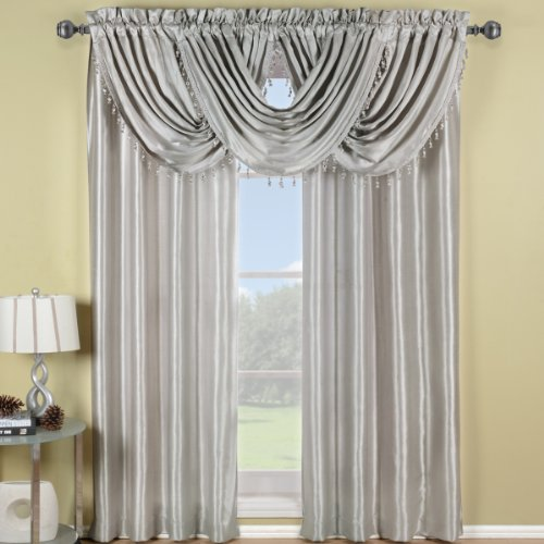 Exquisite Draperies Soho Rod Pocket Faux Silk Window Treatment Collection, Contemporary Décor Single Panel, 42 Inches W by 63 Inches L Panel, Silver ()