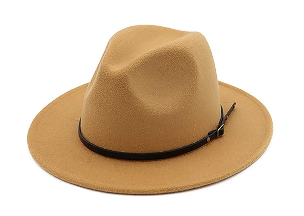 EachEver Womens Woolen Wide Brim Fedora Hat Classic Jazz Cap Belt Buckle