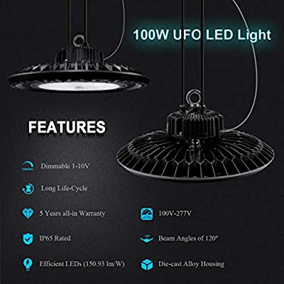 High Bay Led Shop Lights - 100W UFO Dimmable Low Bay Light Fixture (175W-400W Metal Halide Replacement) IP65 Waterproof 5000K Daylight for Warehouse Gym Workshop Factory UL DLC Listed