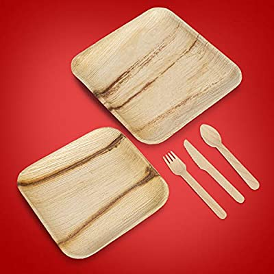 "Palm Leaf Plates and Cutlery – 125pc. Disposable Eco-Friendly Dinnerware Set – Convenient Pack of 25 – 10"" Dinner and 8"" Salad Plates – Bio-Degradable – Ideal for Parties, Camping, Special Events"