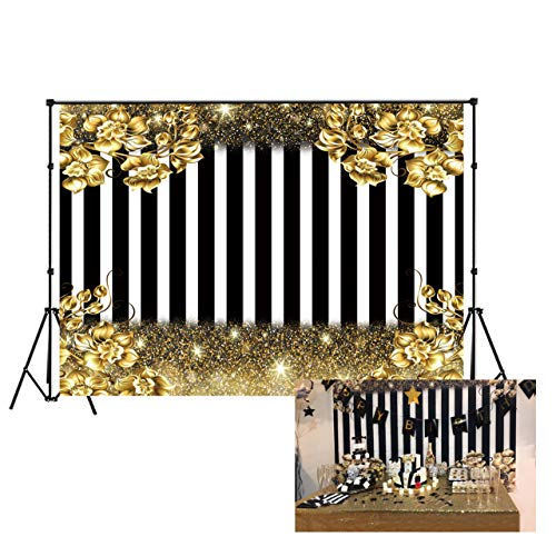 LB Black and White Stripes Photo Backdrop for Photoshoot 7x5ft Vinyl Gold Glittle Flower Backdrop for Newborn Baby Shower Kids Birthday Party Portraits Photo Booth Backdrop]()
