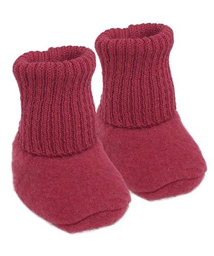 Infant Baby Warm Booties Socks, 100% Organic Merino Wool Fleece (6-12 months, Red)