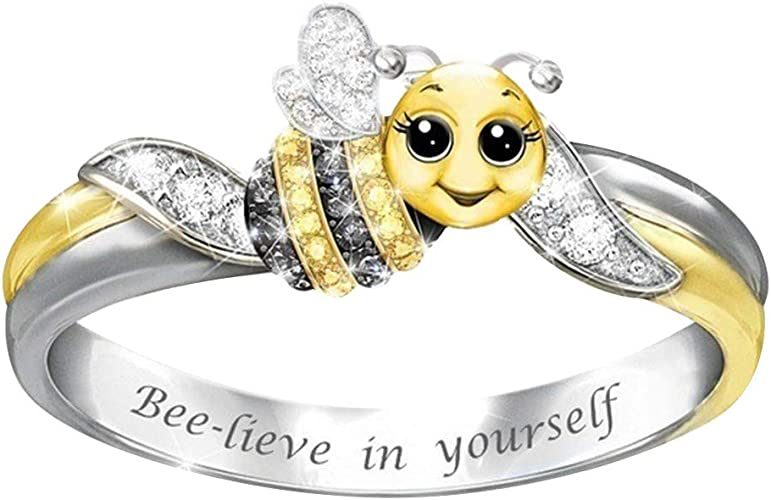 Cute Lovely Little Bee Animal Hollow Rings 925 Silver Fashion Band Party Jewelry