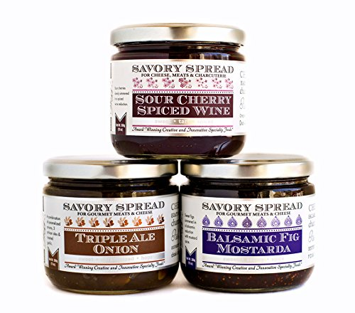 Wozz Kitchen Creations Jam Spreads Set of 3 Jars (each 13 oz) - Triple Ale Onion Jam Spread, Sour Cherry Spiced Wine Spread, Balsamic Fig Mostarda Spread - Savory Jams For Cheese - All Natural - Aged Ale Wine