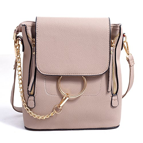 BABORRY Women Crossbody Chain Backpack Purse Small Pu Designer Leather Shoulder Bag for women Ladies Brown Handbags (Khaki) by BABORRY