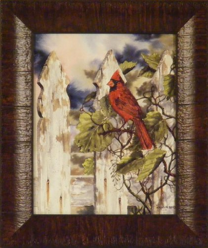 Fenceline Friend by Michael Capser 11x13 Cardinal Red Song Bird Fence Ivy Framed Art Print Wall Décor ()