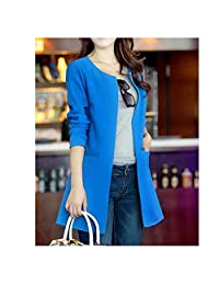 Ariosto0 Womens Long Solid Casual Clothes Plus Size Coat Blazer Office Jacket
