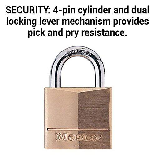 Master Lock Padlock, Solid Brass Lock, 3/4 in. Wide, 120Q (Pack of 4-Keyed Alike) by Master Lock (Image #3)