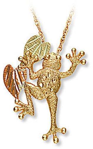 Landstroms 10k Black Hills Gold Tree Frog Pendant Necklace, 18