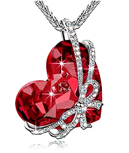 Red Glass Heart Necklace (QOF ''Red Heart of the Ocean Bowtie Pendant Christmas Necklace with SWAROVSKI Crystal)