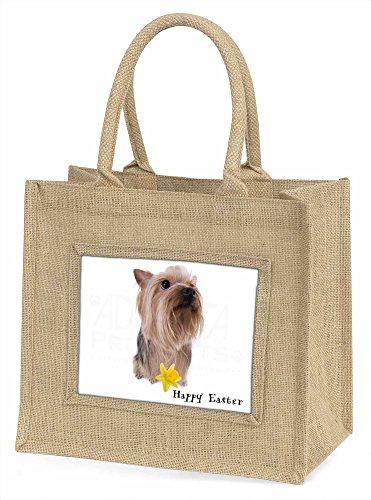 Advanta Happy Easter Yorkie Große Einkaufstasche/Weihnachten Geschenk, Jute, beige/natur, 42x 34,5x 2cm
