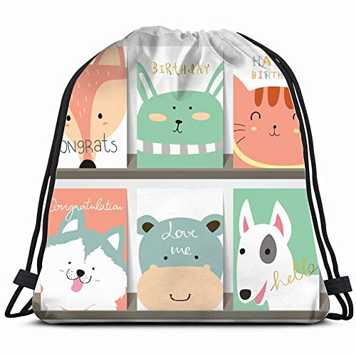 Pink Collection Birth Announcement - light pink blue green collection banners logo miscellaneous Drawstring Backpack Gym Sack Lightweight Bag Water Resistant Gym Backpack for Women&Men for Sports,Travelling,Hiking,Camping,Shopping Yoga
