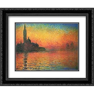 Dusk in Venice 2x Matted 18x15 Black Ornate Framed Art Print by Claude Monet