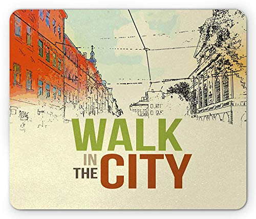 Vintage Mouse Pad, Walking in The City Poster Like Print Cityscape European Buildings Sketchy Outdoors, Standard Size Rectangle Non-Slip Rubber Mousepad, Multicolor