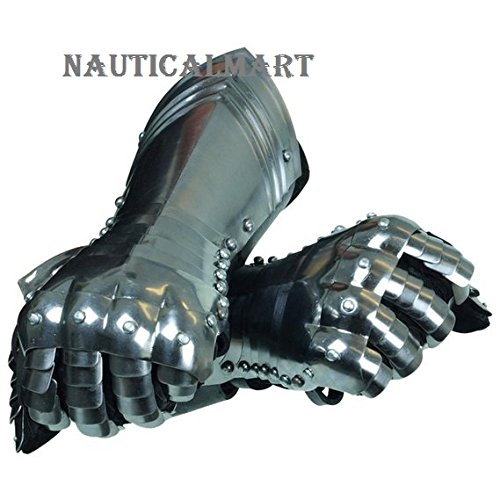 Medieval Warrior Gauntlets - Metallic - One Size Armor By Nauticalmart by NAUTICALMART
