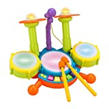 #8: Kids Drum Set Beats Flash Light Toy With Adjustable Microphone