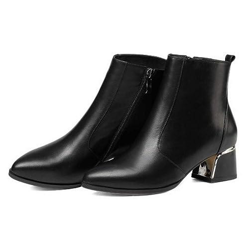 para Mujer Damas De Cuero Negro Bloque Medio A Bajo Zapatos De Tacón Botines Cómodo Vestido