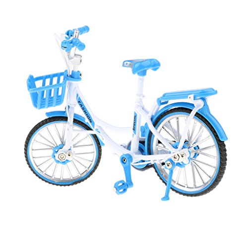 D DOLITY 1:10 Blue Die-cast Bike Model, Metal BM-X mini Bicycle with Basket Collectibles ()