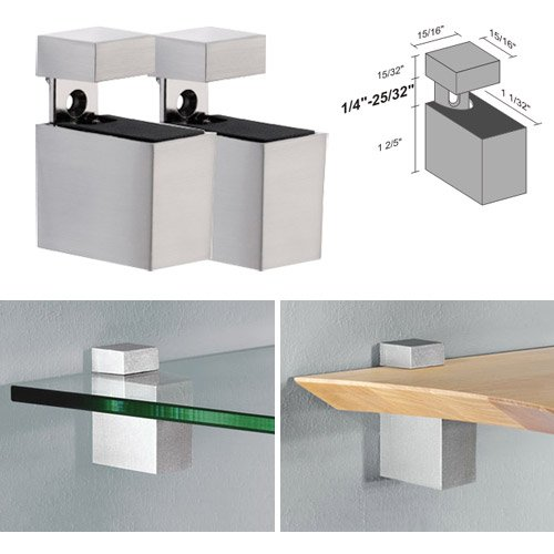 Dolle Cuadro Stainless Steel Adjustable Shelf Brackets for up to 3/4'' Shelf - Pair