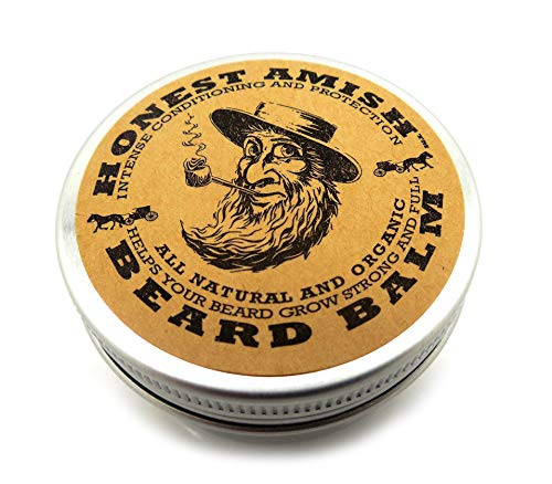 Honest Amish Beard Balm Leave-in Conditioner - Made with only Natural and Organic Ingredients - 2 Ounce Tin Dry Skin Moisturizing Comb