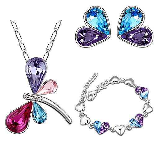 Swarovski Element Crystal Jewelry set Dragonfly Pendant Necklace Stud Earrings Bracelet for Women Girls Gifts