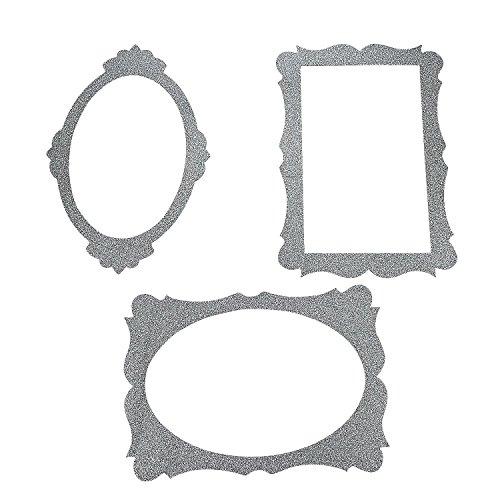 Silver Glitter Picture Frame Cutouts - 3 Piece Set - 16 X ()