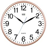 HITO Modern Colorful Silent Non-ticking Wall Clock- 10 Inches (Gold)