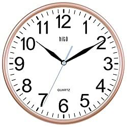 HITO Silent Non-ticking Wall Clock- 10 Inches (Gold)