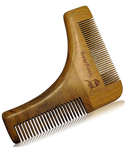 Wooden Beard and Mustache Shaping Tool - Men's Dual Action Beard Shaper with Comb - Use for Precisely Shaving, Shaping, or Styling Facial Hair, by Striking Viking ()