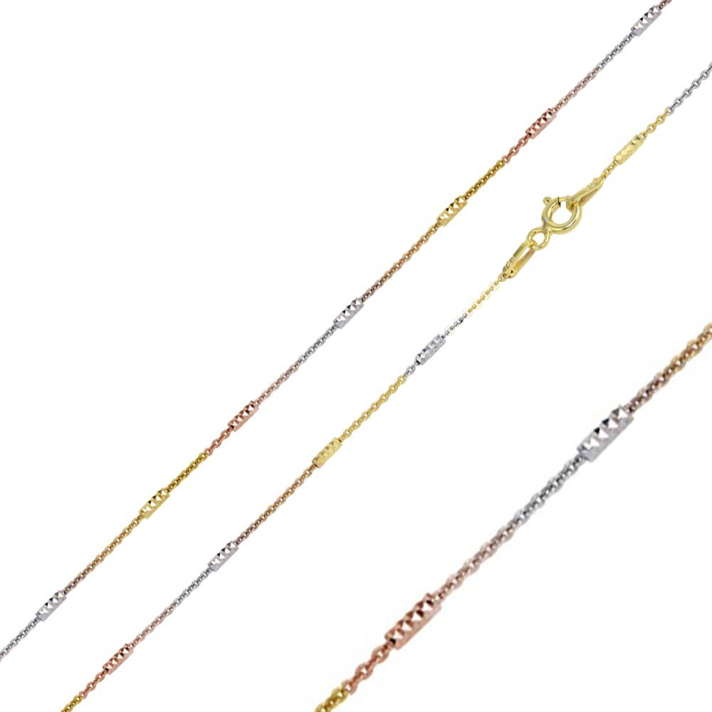 Double Accent 1.4mm Sterling Silver Italian Necklace Tri-Color DC Bar Link Chain 16, 18, 20 Inch